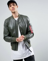 Alpha Industries MA1 Leather Bomber Jacket in Green