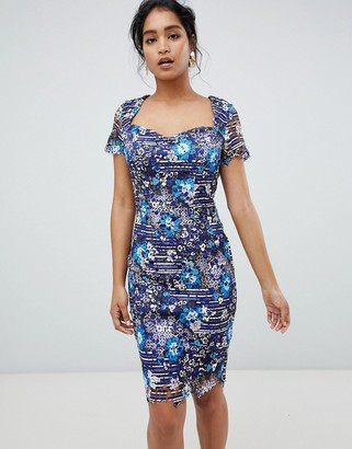 Paper Dolls sweetheart neckline midi dress in printed lace