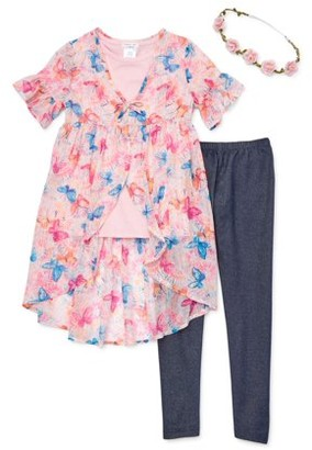 Forever Me Tie Front Chiffon Duster, Glitter Tee and Printed Leggings, 3-Piece Outfit Set With Flower Crown (Little Girls & Big Girls)