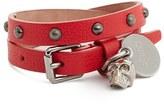 Alexander McQueen Women's Skull Charm Leather Wrap Bracelet