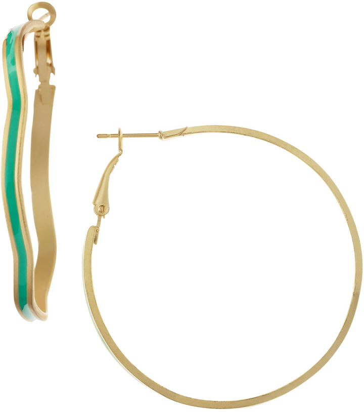 Greenbeads Enamel Center Hoop Earrings