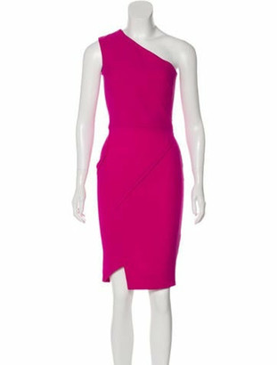 Victoria Beckham Silk and Wool-Blend Dress Magenta