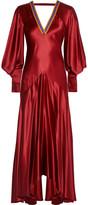Roksanda Zenku Open-back Hammered Silk-satin Dress - Claret