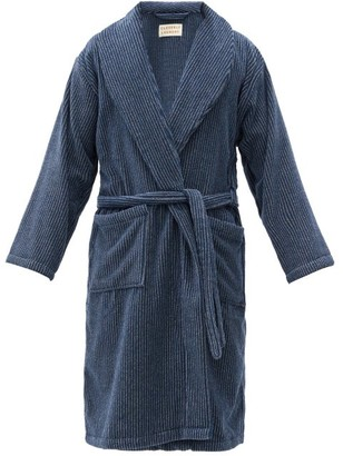 Cleverly Laundry - Striped Cotton-terry Bathrobe - Navy