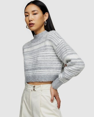 Topshop Striped Super Crop Brushed Knitted Jumper
