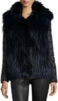 Gorski Fox Fur Stroller w/ Removable Down Sleeves, Navy