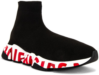 Balenciaga Speed Lt Sneaker in Black & White & Red | FWRD