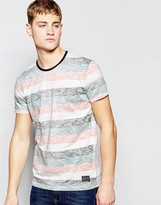 !solid Crew Neck T-shirt With Stripes
