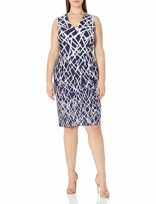 Adrianna Papell Women's Size Crepe Scuba V-Neck Sheath Dress Plus