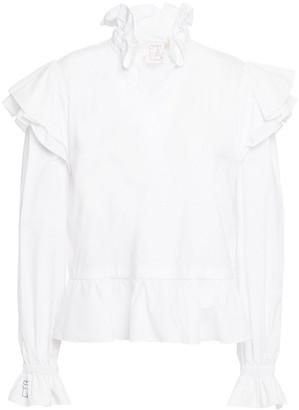 Stella Jean Ruffled Stretch-cotton Poplin Blouse