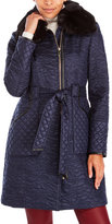 Via Spiga Belted Paisley Quilted Coat with Faux Fur Collar