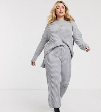 Simply Be co-ord knitted ribbed culottes in grey