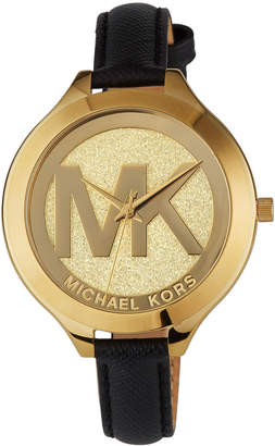 MICHAEL Michael Kors 42mm Slim Runway Watch with Leather Strap, Gold