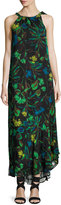 Taylor Tie-Neck Floral-Print Chiffon Maxi Dress, Black Pattern