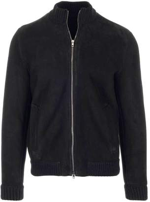 Salvatore Santoro Shearling Lined Ribbed Stand Up Collar Jacket