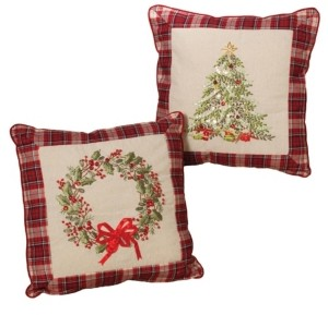 Gerson & Gerson Plush Throw Pillows with Wreath and Christmas Tree Holiday Accents