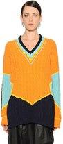 Maison Margiela Color Block Cotton Jacquard Knit Sweater