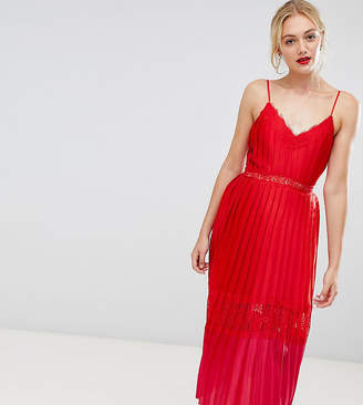 Little Mistress Tall pleated lace trim midi dress in pomegranate-Red