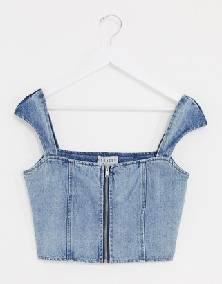 Lioness denim corset crop top in blue