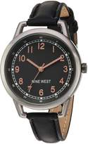 Nine West Women's NW/1699GNBK Easy-To-Read Dial Watch With Faux-Leather Band