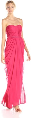 JS Boutique Women's Strapless Rouched Long Gown