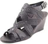 XOXO Shani Women Open Toe Synthetic Black Wedge Sandal.