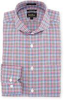 Neiman Marcus Trim-Fit Regular-Finish Plaid Dress Shirt, Pink