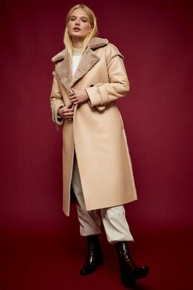 Topshop Womens Mink Reversible Faux Fur Coat - Mink