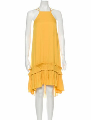 Halston Square Neckline Knee-Length Dress w/ Tags Yellow