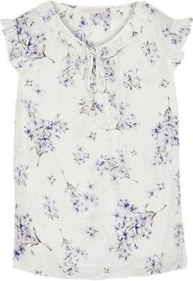 Rebecca Taylor Ruffle-trimmed Floral-print Silk-jacquard Top