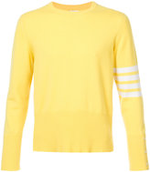 Thom Browne Crewneck Pullover With 4-Bar Stripe In Yellow Cashmere