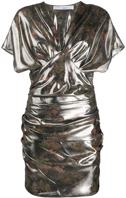 IRO Mimeta metallic sheen ruched dress