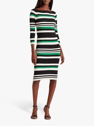 Ralph Lauren Ralph Laured Jenikia Casual 3/4 Length Sleeve Striped Dress, Hedge Green/White