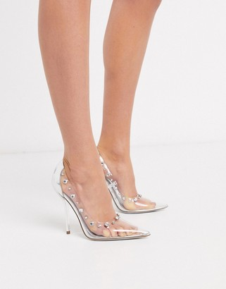 ASOS DESIGN Prince pointed embellished court shoes in clear and silver