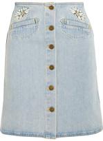 MiH Jeans Embroidered Denim Mini Skirt - Mid denim