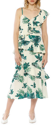 Walter Baker Palm Printed One-Shoulder Ruffle Dress