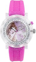 Disney Princess Belle Girls Quartz Watch with Pink Dial and Pink Rubber Strap PN1145