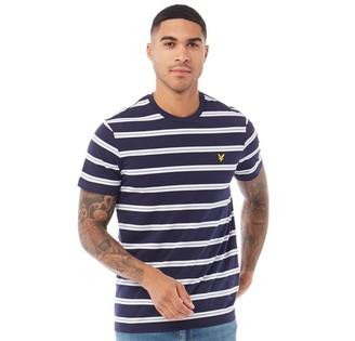 Lyle And Scott Vintage Mens Wide Double Stripe T-Shirt Z99 Navy