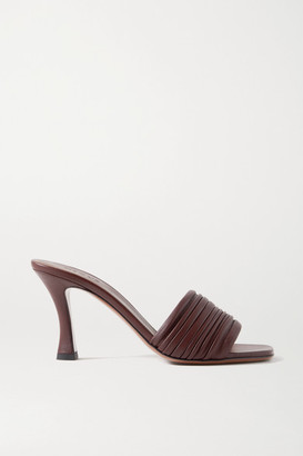 Neous Sham Ruched Leather Mules - Dark brown
