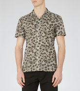 Reiss Reiss Hiro - Printed Cotton Shirt In Brown