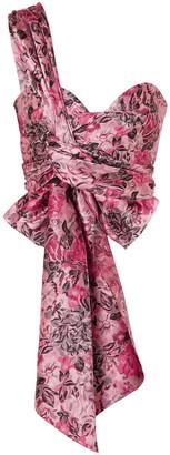 Erdem Halle One-shoulder Bow-detailed Floral-jacquard Bustier Top