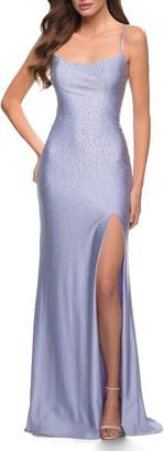 La Femme Rhinestone Open Back Gown