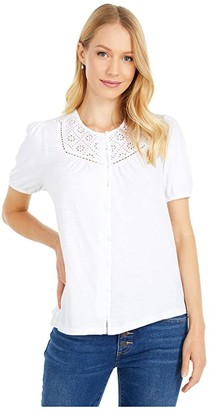 Lucky Brand Button-Down Knit Blouse (Bright White) Women's Clothing