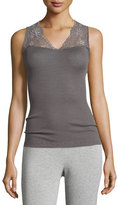 Hanro Seraphina Lace-Trim Wool-Silk Blend Tank Top, Warm Gray