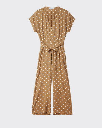 Minimum - Cathleen Tobacco Brown Dot Viscose Jumpsuit - viscose | brown | size 40 - Brown/Brown