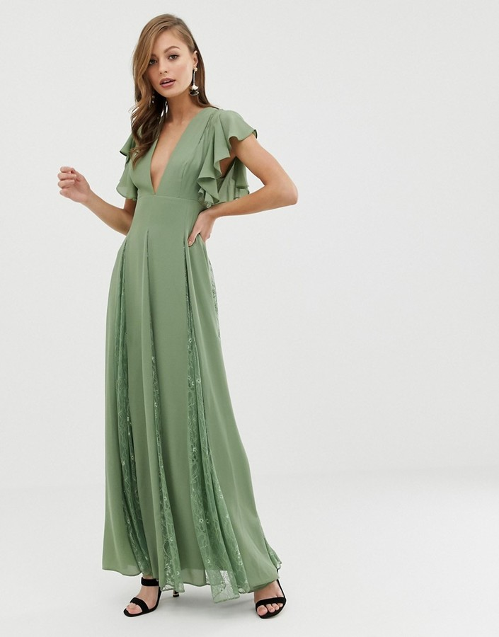 Asos DESIGN maxi dress with lace godet panels