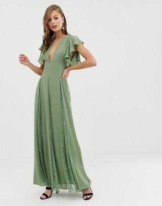 Asos Design DESIGN maxi dress with lace godet panels