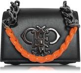 Emilio Pucci Black Leather Shoulder Bag w/Color Block Chain Strap