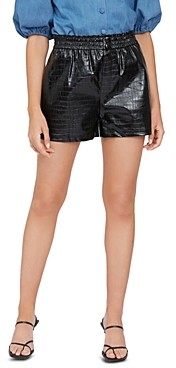 Lucy Paris Croc Embossed Faux Leather Shorts - 100% Exclusive