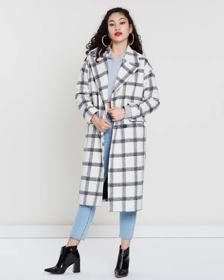 Missguided Oversized Check Crombie Coat